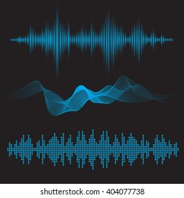 equalizer sound waves icon abstract vector illustration set collection eps