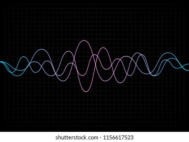 Equalizer vector illustration. Abstract wave icon set for music and sound. Pulsation color wavy motion lines on black background. Radio frequency graph. Graphic digital voice. Stock rate line