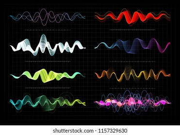 Equalizer vector illustration. Abstract wave icon set for music and sound. Pulsation color wavy motion lines on black background. Radio frequency graph. Graphic digital voice. Stock rate line.