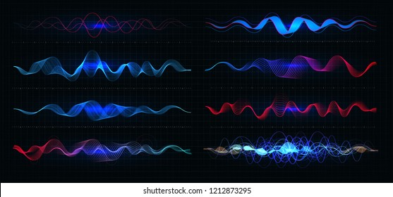 Equalizer vector illustration. Pulsation color wavy motion lines on black background. Radio frequency graph. Graphic digital voice. Stock rate line
