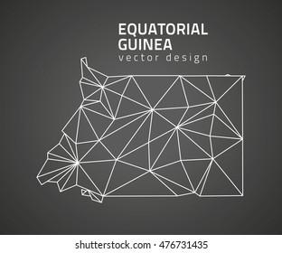 Equatorial Guinea black contour triangle vector map