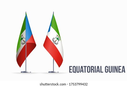 Equatorial Guinea flag state symbol isolated on background national banner. Greeting card National Independence Day of the Republic of Equatorial Guinea. Illustration banner with realistic state flag.
