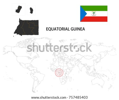 Equatorial Guinea Map On World Map Stock Vector (Royalty Free ...