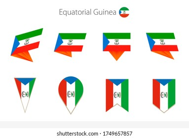 Equatorial Guinea national flag collection, eight versions of Equatorial Guinea vector flags. Vector illustration.