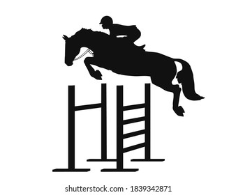 Equestrian athlete jumping sportive horse over obstacles vector silhouette