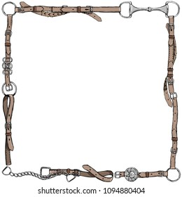Equestrian belt frame. English fox hunting style. England tradition horse riding style isolated leather frame or border with bit, bridle, buckle and  riding tack tool. Hand drawing vector vintage art