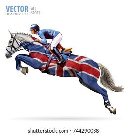 Equestrian champion sport theme: Jockey riding a jumping horse. Poster sport background. United Kingdom flag.