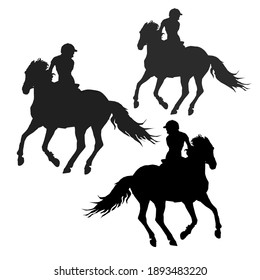 equestrian competitions, show jumping, women riders on horses,  isolated images on a white background