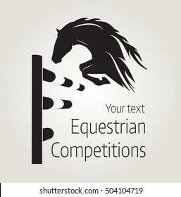 Equestrian competitions - vector illustration of horse - poster