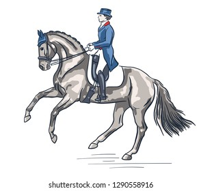 Equestrian, dressage. Vector illustration of a rider on a horse.