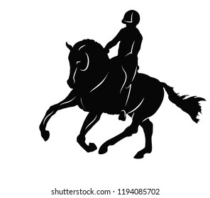 Equestrian, dressage. A vector silhouette of a rider on a horse execute the canter.