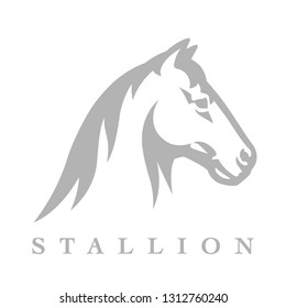 Equestrian horse logo with stallion head. line style silhouette icon. Wild mustang animal symbol. Vector illustration.