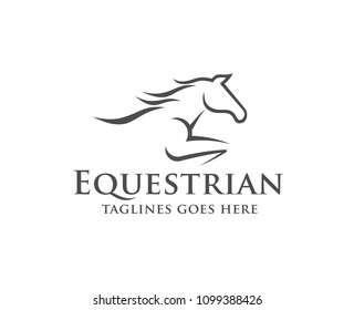 equestrian Horse racing logo template