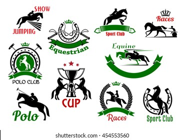 Equestrian or horse racing sport icons. Horse and rider silhouettes jumping over fence or barrier, whips under crown and rearing horses with trophy cup, polo sport club and horseshoe