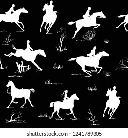 Equestrian horse riding style silhouette seamless pattern. Black and white english fox hunting style. Horseback man and woman galloping on field. England tradition hand drawing vector silk scarf art.