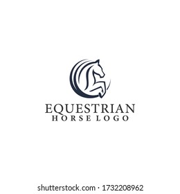 Equestrian Jumping Horse Logo Template Vector