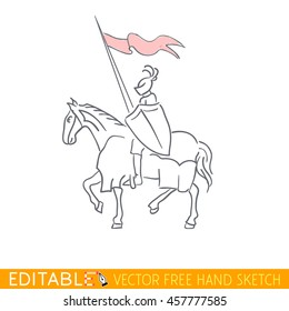 Equestrian Knight. Editable vector icon in free hand style.