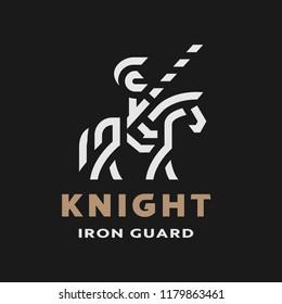 Equestrian knight, linear logo, symbol on a dark background.