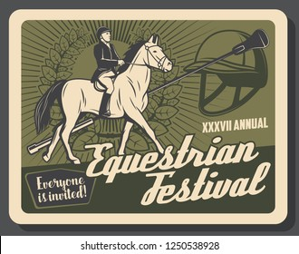 Equestrian on horse retro poster for riding sport tournament. Horse races championship at racecourse. Jockey in helmet and boots, noble mustang, laurel wreath and whip on vintage invitation vector