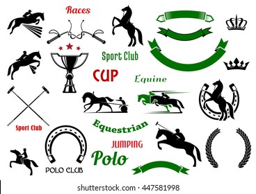 Equestrian and polo club, races and jumping show competition symbols with rearing up and jumping horses, galloping horses with riders, trophy cup and horseshoes, crossed mallets and whips, wreaths