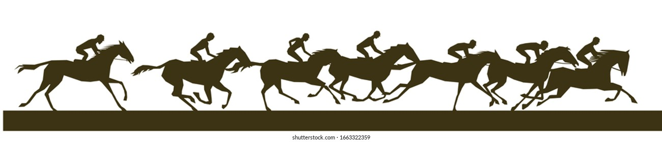Equestrian rider silhouettes doing horse racing.