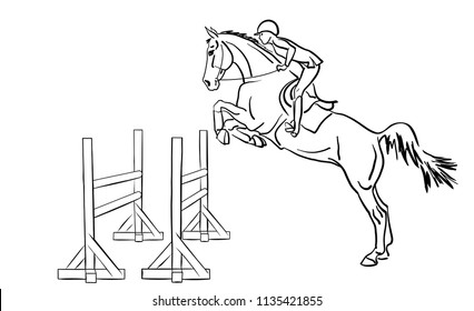 Equestrian, show jumping. A rider jumping with a horse over obstacles.