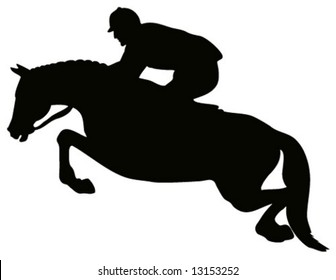 Equestrian show jumping silhouette