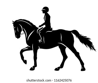 Equestrian. A silhouette of a rider and a horse.