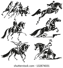 Equestrian  Simplified silhouettes of competitive equestrian sports: combined driving, show jumping, dressage, eventing (military), equestrian vaulting and western riding.