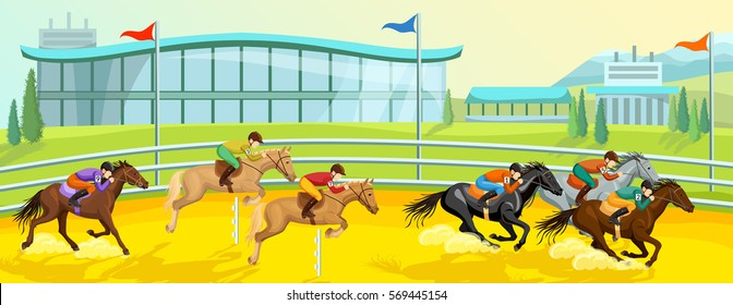 Equestrian sport cartoon template with running and jumping horses with riders at competition vector illustration