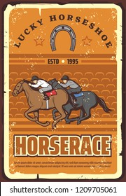 Equestrian sport club, racetrack announcement retro vector. Vintage design of jokeyson horses racing on hippodrome with lucky horseshoe symbol