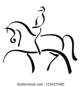 Equestrian sport, dressage. A logo of a horse and rider.