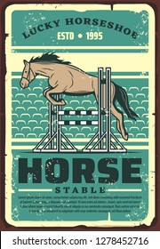 Equestrian sport dressage show jumping retro poster with horse leaping over fence on outdoor arena or hippodrome. Riding club, horse racing and equestrian competition event vector design