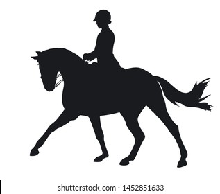 Equestrian sport, dressage, silhouette of a rider and horse