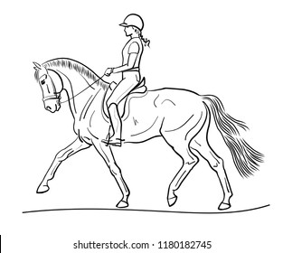 Equestrian sport dressage. A sketch of a horsewoman on a horse.