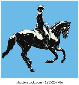 Equestrian sport, dressage. Vector vintage illustration of a rider cantering on a horse.