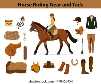 Equestrian Sport Equipment Set. Horse riding gear and tack accessories. Show Jacket, breeches, gloves, boots, chaps, whip, horseshoes, grooming brush, saddle, pad, blanket, girth, fly mask, snaffle