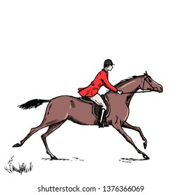 Equestrian sport fox hunting with galloping horse man rider english style on landscape. England steeplechase horseman tradition. Hand drawing vector vintage horseback art.