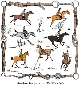 Equestrian sport fox hunting with horse riders english style on landscape. England steeplechase tradition in leather belt frame with bit, saddle, horse riding tool. Hand drawing vector vintage art.