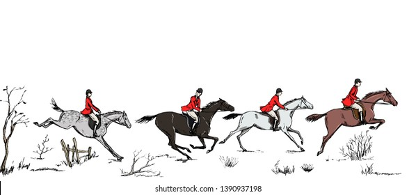 Equestrian sport fox hunting with horse riders english style in red jacket on landscape. England steeplechase tradition frame, header banner or border. Hand drawing vector vintage art pattern on white