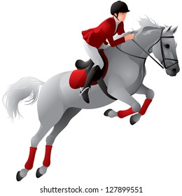 Equestrian sport girl rider in red uniform on the white horse, Show jumping competition realistic vector illustration