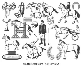 Equestrian sport, horse polo racing equipment accessory. Polo jockey rider bat and outfit, horse racing carriage and saddle harness, equine horserace cart on ride course and horseshoe vector icons