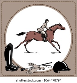 Equestrian sport horse rider England steeplechase style. Derby in leather frame and horse riding tack tool. Black boots and whip, helmet and gloves. Hand drawing vector equine cartoon illustration
