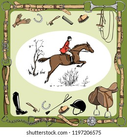 Equestrian sport with horse rider England steeplechase style. Derby in leather belt frame with bit, saddle, bridle, stirrup, brush, horse riding tack grooming tool. Hand drawing vector vintage art.