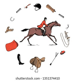 b13289b503a Equestrian sport with horse rider style. Saddlery in frame with bit