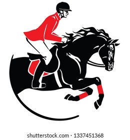 equestrian sport . Horse show jumping emblem, logo, icon. Black and red vector