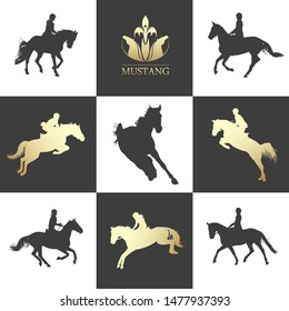 Equestrian sport. Horseback riding. Rider is performing jumps on horse. Horse silhouette black and white
