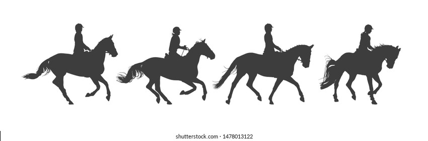 Equestrian sport. Horseback riding. Rider on horse. Silhouette black and white