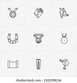 Equestrian Sport line icon set with horse barrier , horseshoe     and saddle