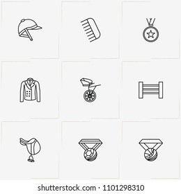 Equestrian Sport line icon set with horse barrier , medal and saddle